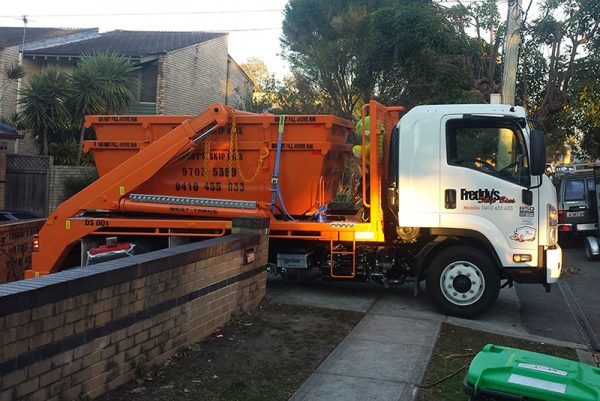 A skip bin being delivered to a house in Croydon NSW